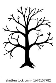 Big, tall tree - vector black silhouette for logo or icon. Tree silhouette - icon or pictogram.