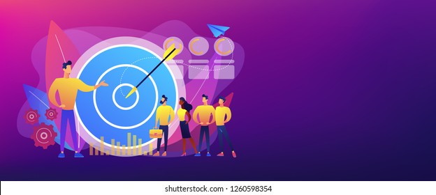 Big target, manager and employees engaged in company goals. Internal marketing, company goals promotion, employee engagement concept. Header or footer banner template with copy space.