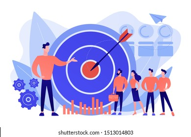 Big target, manager and employees engaged in company goals. Internal marketing, company goals promotion, employee engagement concept. Pink coral blue vector isolated illustration