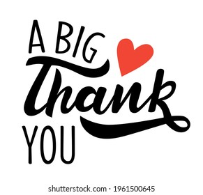 A big thank you hand lettering vector. Appreciation phrases for commercial or membership cards, banners, posters. Words of gratitude for Thanksgiving day fall season for cards, banners, posters.