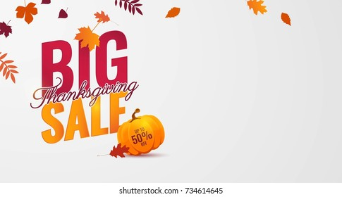 Big thanksgiving sale poster. Beautiful autumn background with falling leaves and pumpkin. Vector illustration