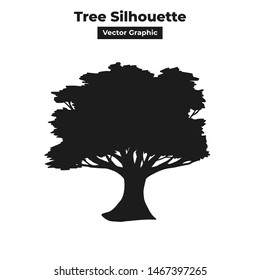 Big thick old tree vector graphic silhouette design