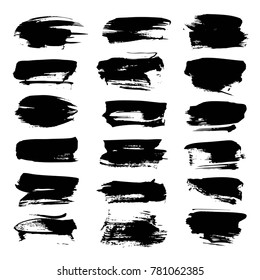 Big thick short abstract textured smears black isolated on a white background