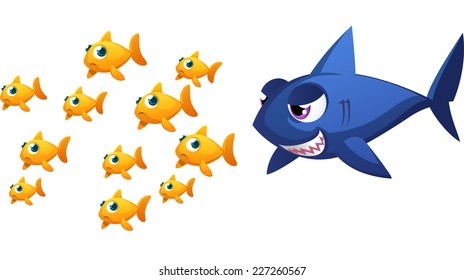 Big threatening fish about to eat some small goldfish fishes, with eleven fish running away scared from a big blue shark vector illustration.