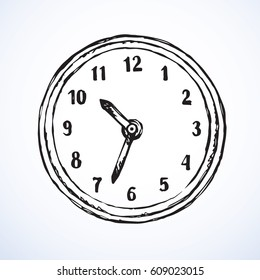Big ticker timekeeper isolated on white backdrop. Freehand outline dark ink hand drawn picture sign sketchy in scribble style pen on paper. Closeup view with space for text