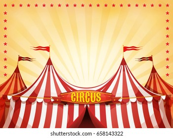 Big Top Circus Background With Banner/ Illustration of cartoon white and red big top circus tents background, with marquee or banner on a yellow summer sky background