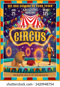 Big top circus entertainment show poster. Vector circus amusement carnival performance, tamer with lion animal on pedestal jumping in fire rings on arena with lights and flags