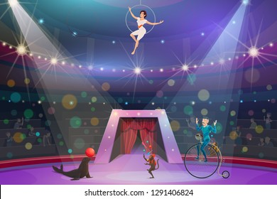 Big top circus show, performers and animals. Vector monkey juggler and female air gymnast in hoop, trickster on unicycle and seal with ball on arena. Spectators watching performance on round stage