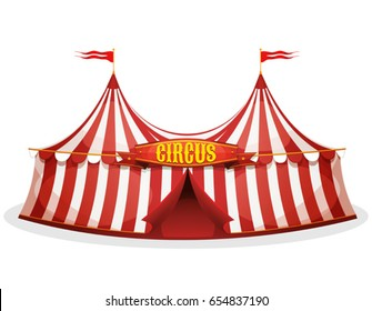Big Top Circus Tent/ Illustration of a cartoon big top circus tent, with red and white stripes, for funfair and carnival holidays