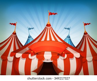 Big Top Circus Tents With Banner/ Illustration of cartoon white and red big top circus tents background with marquee or banner on a blue sky background