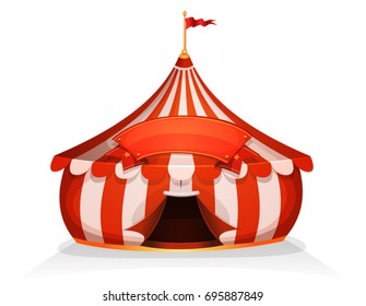 Big Top Little Circus Tent With Banner. Illustration of cartoon white and red big top circus tent, with marquee.