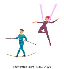 Big top tent circus gymnast and balancer vector characters. Cartoon air acrobatics woman shows a performance. Man ropewalker balancing on rope with pole. Acrobat performing on circus stage