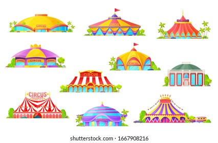 Big top tent circus isolated icons, cartoon building and carnival striped marquees with flags. Chapiteau circus, amusement fair park and funfair entrance, entertainment industry