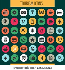 Big tourism icon set, trendy line icons collection