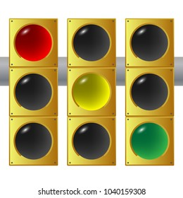 """Big traffic light repeated three times, each with a different light """"on"""" , red yellow and green lights.Traffic laws concept. Vector illustration."""