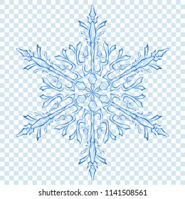 Big translucent Christmas snowflake in blue colors on transparent background. Transparency only in vector format