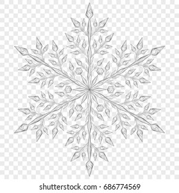 Big translucent Christmas snowflake in gray colors on transparent background.  Transparency only in vector file