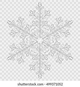 Big translucent crystal snowflake in gray colors on transparent background. Transparency only in vector file