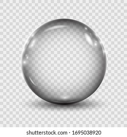 Big translucent gray 3D crystal magic sphere with glares. Glass transparent ball with shadows – stock vector