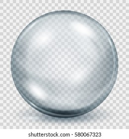 Big translucent gray sphere with shadow on transparent background. Transparency only in vector file