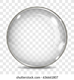 Big transparent glass sphere for a light background, lens with glares and shadow, on a plaid background.