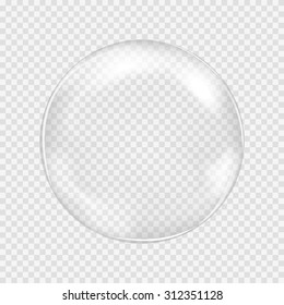 Big transparent water glass sphere with glares and highlights. White pearl. Soap bubble. Vector illustration with transparencies, gradients and effects. Abstract pattern for your design and business.