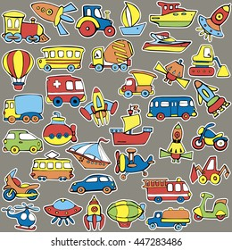 Big transportation icons collection. Cute  baby pattern. Set of transport for children. Hand drawn vector illustration.