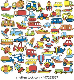 Big Transportation Icons Collection Cute Baby Pattern Set Of Transport For Children Hand