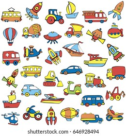 Big transportation icons collection. Set of transport for children. Cute baby pattern. Hand drawn vector illustration.