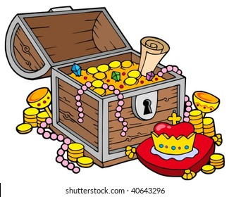 Big treasure chest - vector illustration.