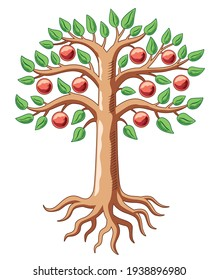 Big tree with apples. Color illustration. Traditional symbol in heraldry. Vector graphics