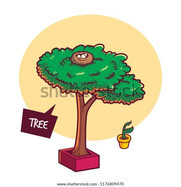 Big Tree Bird Nest Cartoon Illustration Stock Vector Royalty Free 1176809470
