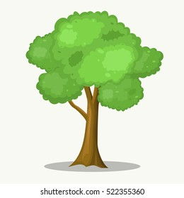 Big Tree Cartoon for Park and Forest Scene.Vector Illustration.