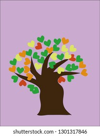 Big tree with colorful heart leaves, romance love concept