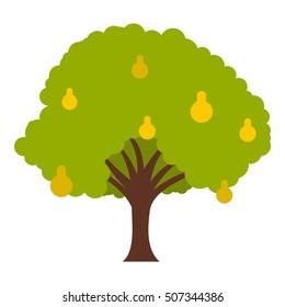 Big tree with fruit icon. Flat illustration of big tree with fruit vector icon for web