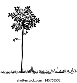 Big tree icon silhouette over isolated background. Vector file layered for easy manipulation and custom coloring.