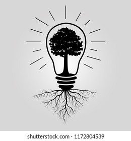 big tree in lightbulb with roots, nature ecology concept, idea for save the world, vector illustration