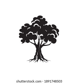 big tree with roots vector isolated