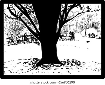 Big tree trunk in a park with people on benches behind, sketch