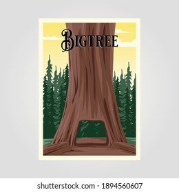 big tree vintage vector poster background illustration design