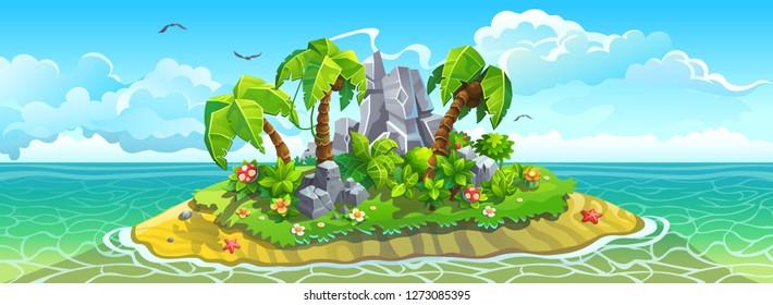 Big tropical island among sea. Palm trees, sandy beach and rocks. Vector landscape panorama.