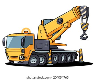 Big truck crane character. cartoon illustration isolated on white