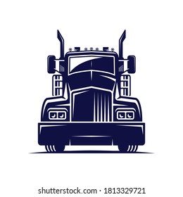big truck vector logo illustration,good for mascot,delivery,or logistic,logo industry,flat color style with blue.