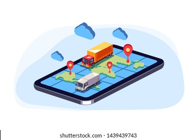 Big trucks moving on online web map smartphone. Order parcel cargo delivery online tracking concept. Vector flat cartoon graphic design isolated isometric illustration