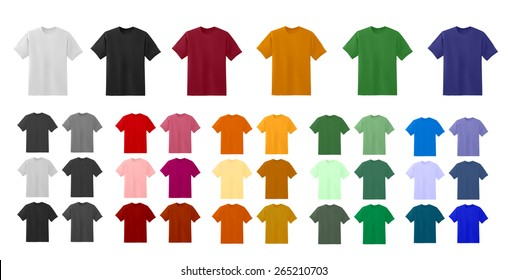 Big t-shirt templates collection of different colors, vector eps10 illustration.