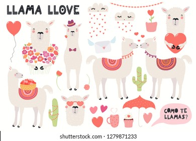 Big Valentines day set with cute funny llamas, hearts, text, Spanish Como te llamas, Whats you name. Isolated objects on white. Hand drawn vector illustration. Flat design. Concept for children print