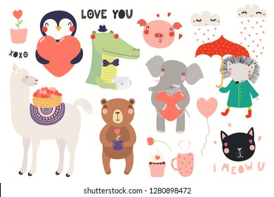 Big Valentines day set with cute funny animals, hearts, text. Isolated objects on white background. Hand drawn vector illustration. Scandinavian style flat design. Concept for card, children print.