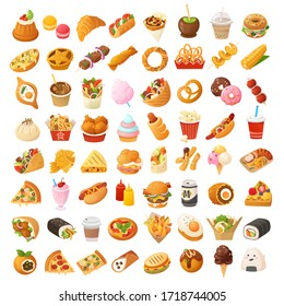 Big variety of colorful fast foods from many countries of the world.  Pastry, desserts, fun fair treats, breakfast and lunch snacks from street vendors and cafe.  Set of isolated vector cartoon icons.