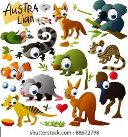 big vector australian animals set