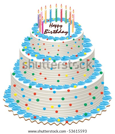 Big Vector Birthday Cake With Burning Candles